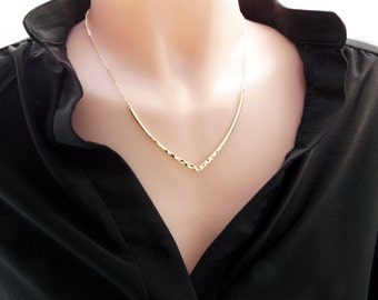 Long statement necklace, Bib necklace, large V necklace, bold necklace available in gold or silver