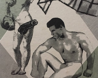 Original art monoprint Lithograph with Chine Colle Vintage Gay male nude Beefcake Lithography original art homoerotic art
