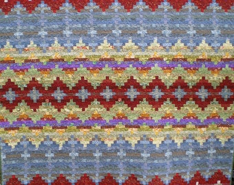 Full Size Indian Blanket Inspired Quilt in Reds, Blues, and Greens