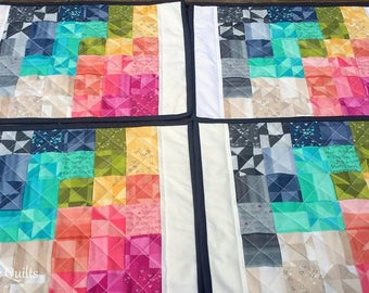 Quilted Placemats - Fabric Placemats - Summer Placemats - 4 Placemats - Modern Placemats - Table Quilt - Table Mats - Rainbow Placemats