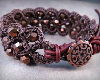 Boho Chic Bracelet, Beaded Cuff, Dark Copper shades - Bohemian Crochet jewelry