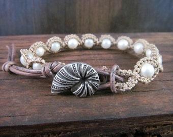 Ocean lover's Bracelet, Leather and Seashell Button Clasp, Pearl bracelet - Bohemian Crochet Jewelry