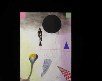 """Original 1997 Roy Henry Gover Mixed Media Painting """"Giacometti's Ruse"""""""