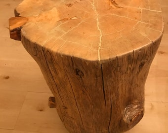 Custom Made Log End/Coffee Table with cast iron wheels