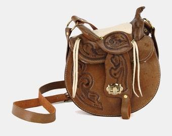 Horse SADDLE Brown TOOLED Leather Purse Vtg 70's FLORAL Paisley Stamped Shoulder Boho Hippie Western Fleece Lined Fringe Studded Saddlebag