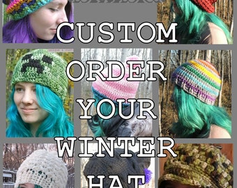 Custom Order Crochet Hat Toque Chapeau