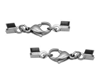 10 Stainless Steel Silver Tone Cord End Crimp Caps with lobster clasp, fits 3mm cord, leather, fcl0223