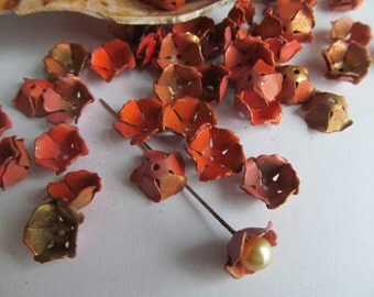 30  Vintage Coral Peach Shabby Chic  Wonderful Metal Flowers
