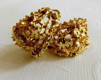 Pair of Vintage Gold Tone, Brutalist, Hoop Earrings - for Pierced Ears, 1970's, Sculptural, Modernist, Lava, Chunky, Work Costume Jewelry