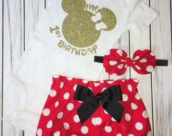 My 1st Birthday Onesie, Minnie Mouse girl Onesie, Knot Bow Headband, Complete Baby or Toddler Set, First Minnie Onesie,Cake Smash Outfit,One