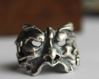 Sterling Silver Figural Face Mythology Ring - Greek - Mask One of the kind