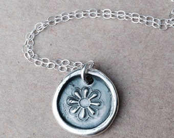 Flower wax seal pendant jewelry made from fine silver, custom made to order for Christmas