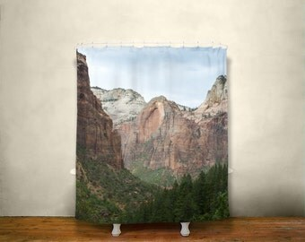 scenic zion shower curtain southwest decor utah nature national parks zion utah