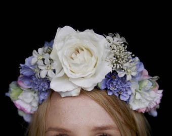 Sky Blue and White Flower Crown / headband / hairband