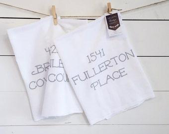 Custom Towels -2 -Kitchen Towel -Flour sack Towel -Dish Towel -Tea Towel- Address Gift- Wedding Gift- First Home- Custom Kitchen Towel-Bride