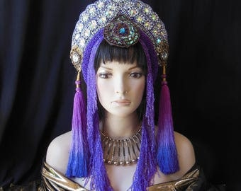 Purple Fantasy Burning Man festivals Persian Indonesian Eygption goddess Queen Princess Crown headdress headpiece costume Belly Dance Hat