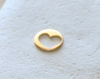 Cut Out Love Heart Disc Pendant | Bracelet Connector in 14K Gold Filled or Sterling Silver 925