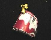 Vintage Fordite pendant, Detroit Agate, maroon, white black gray, gold bail 13ct2