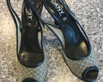 DKNY Gold Mesh Open Toe and Black Leather Sling Back Shoe Size 8 1/2M