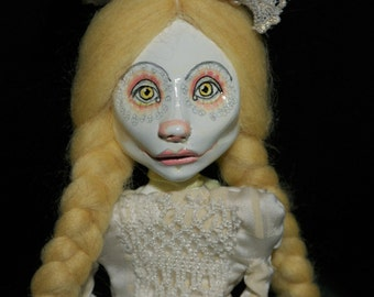 ooak art doll, dots, yellow , white