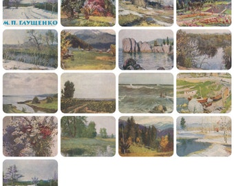 M. Glushchenko. Set of 16 Vintage Ukrainian Postcards (out of 20) in original cover -- 1961. Good cond., cover 9/10