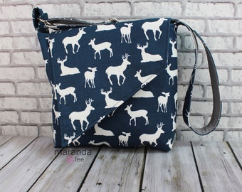 Nori Flap Messenger Slouch Bag with Adjustable Cross Body Bag - Navy Deer - iPad Bag