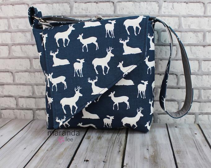 Nori Flap Messenger Slouch Bag with Adjustable Cross Body Bag - Navy Deer - iPad Bag