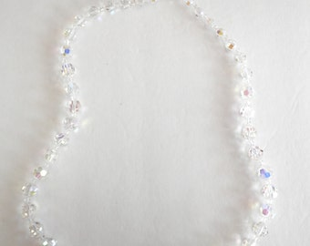 "Vintage Cut Crystal Beaded 30"" Necklace"