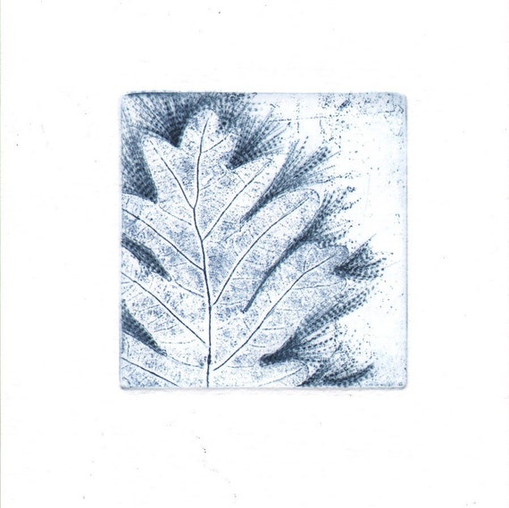 4 Original Floral Etching Blank Card Fine Art Hand Pulled Print Aquatint One Of A Kind