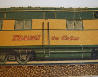 """Vintage 1950 """"Trains to Color"""" Children's Coloring Book - Whitman Publishing Company - 63 Blank Pages Uncolored - Railroad Railway Art"""