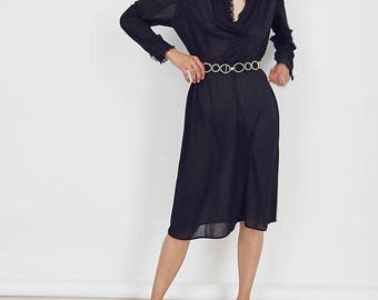 Vintage 70s Black Lace Detail Midi Dress