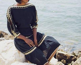 80's Grecian Style Gauze Dress