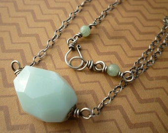 Amazonite & Sterling Silver Necklace - Faceted Amazonite Nugget Pendant Sterling Silver Necklace