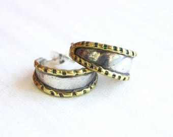 Mexican Hoop Earrings Sterling Silver and Brass Vintage Mixed Metal Hoops Posts Studs Taxco Mexico