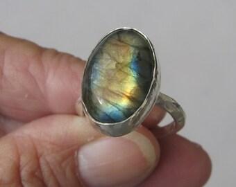 Labradorite Ring, Gemstone Ring, Sterling Silver Ring, Gemstone Sterling Silver Ring, Labradoringe Sterling Silver Ring, GemSalad Jewelry