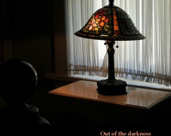 The glow of the lamp in the window leads me home, home decor, wall decor, glow of light, stained glass lamp photo, cottage decor, light