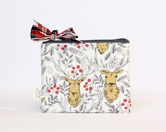 Oh Deer Zipper Pouch, Stocking Stuffer, Holiday Gift, Pencil Bag, Gift Card, Gift For Her, Under 25, Christmas Gift, Make Up Bag, Coin Purse