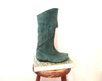 Vintage 80s Boots | Green Suede Leather Fringe Boots | size 7 - 7.5