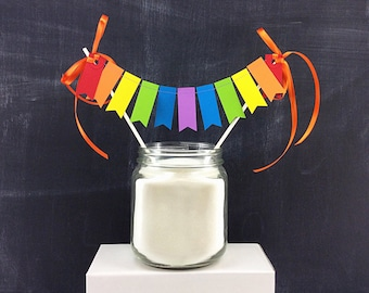 Rainbows Cake Topper - Tiny Flags: Smash Cake Topper, 1st Birthday Girl, 1st Birthday Boy, Flag Cake Topper, Art Birthday Party, Cake Topper