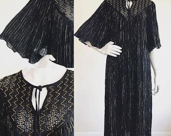 Black Cotton Gauze Grecian 1970s Boho Angel Sleeve Dress with Metallic Threads