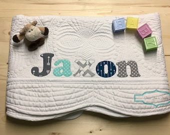Personalized Baby Quilt, Personalized Baby Gift, Monogrammed Quilt, Baby Shower Gift, Baby Dedication Gift, Mint and Grey Baby, Arrows Baby
