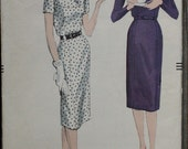 Vogue 9746 1950s 50s Tailored Yoke Wiggle Dress Vintage Sewing Pattern Size 16 Bust 36