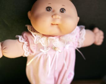 Vintage Cabbage Patch by Mattel, 1995 Cabbage Patch Girl Doll, Brown Eyes and Blonde Hair Cabbage Patch, Pink Outfit, Cabbage Patch Baby