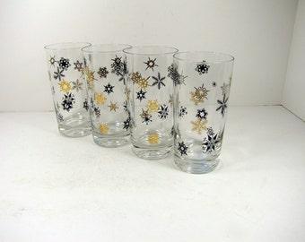 Vintage SNOWFLAKE TUMBLER Set/4 Glasses Retro Barware Holiday