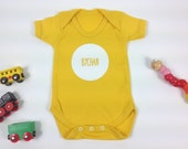 Baby Clothes Yellow Babygrow Welsh Text Bychan Little White Unisex