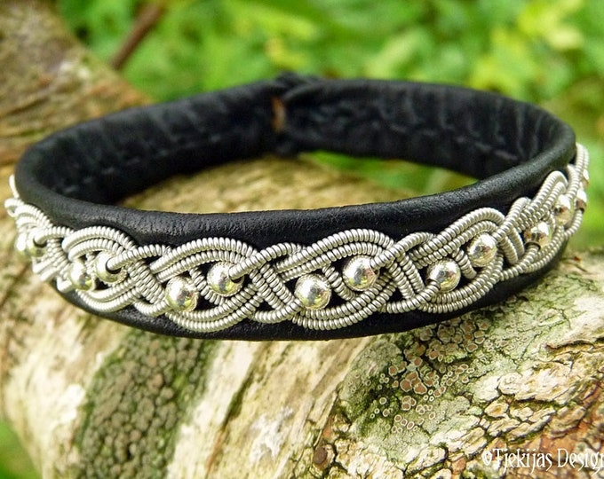 Swedish Sami Bracelet BIFROST Black Reindeer Leather, Pewter Braid with Sterling Silver beads, and Antler Button - Handmade Nordic Elegance
