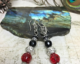 Black and Red Earrings - Party Jewelry, Womens Jewelry, Boho Chic, Rhinestone Earrings, Red Jewelry, Jewelry Gifts, Dangle Earrings