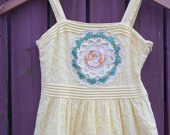 Girl's BOHO Yellow Eyelet Dress with Vintage Doily/Flower Girl/Little Girl Size 6X