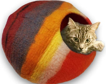FREE SHIP Cat Cave by Walking Palm - LARGE - Western Sunset Color - ships now from usa / Cat Bed / Pet Bed / Hand Felted Wool