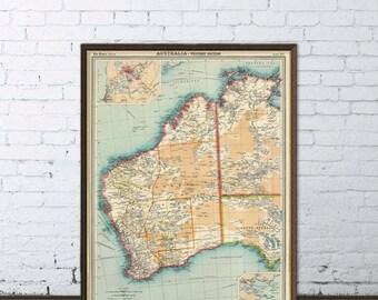 Map of Australia - Western Australia map  - Old map print -  Wall map - Large map of Australia